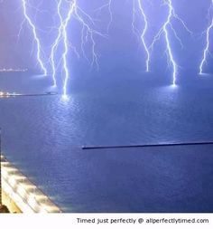 Lightnings strike on Lake Michigan – An amazing light show at night by mother nature. Good think the bolts are hitting the water instead of on land.