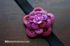 Handmade Girls Purple & Black Button #Flower Headband, Adorable Children's Hair Accessory #buttonart #lovemesomepurple