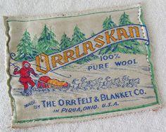Vintage Orrlaskan Wool Blanket Label Orr Piqua   #TuscanyAgriturismoGiratola