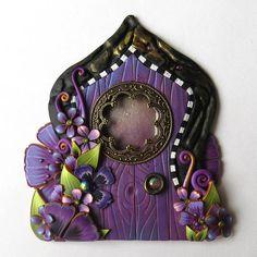 Purple Fancy Fairy Door by Claybykim Polymer Clay Miniature