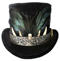 Tall Black Top Hat Voodoo Skull Steampunk by JenkittysCloset