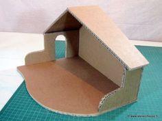 Tutoriel cr che de no l en carton patron offert faire cr er pinterest noel - Patron maison en carton ...
