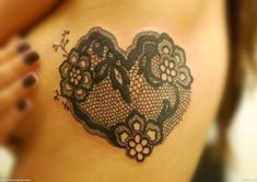 Lace heart tattoo