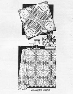 Crochet Square Patterns, Crochet Blocks, Double Crochet, Knit Crochet, Filet Crochet Charts, Crochet Tablecloth, Vintage Knitting, Chain Stitch, Vintage Designs