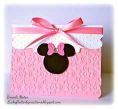 Handmade Minnie Mouse invite using Cricut Expression 2 and Cuttlebug Embossing Folders! Minnie Mouse Rosa, Minnie Mouse Theme Party, Minnie Mouse First Birthday, Mouse Parties, Kids Birthday Cards, Handmade Birthday Cards, 1st Birthday Parties, Mickey E Minie, Mouse Crafts