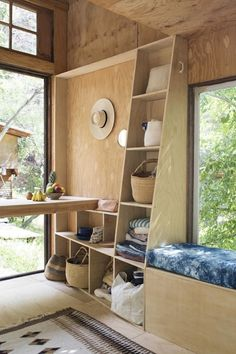 Couple Builds Topanga Tiny Cabin Retreat Photo. Could do wood interior if it were clear birch, something light.