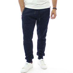 #Мъжки #спортен #панталон в #син цвят, с права кройка, с леко стесняващи се крачоли, с два предни джоба и един заден, изработен от 35% памук и 65% полиестер, удобен за комбиниране с различни #модели тениски и суитчъри.