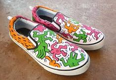 Keith Haring Inspired Pop Art Sneaker Design | Keith Haring Art Projects | THESE? Are amazing! I need to make a pair! They would make an awesome art project for middle school.