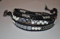Black Leather Wrap Bracelet Gemstone & Leather by GmawsGems