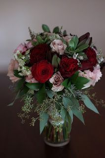 Bloom & Vine Quicksand and Hearts roses bouquet with seeded eucalyptus and succulents.