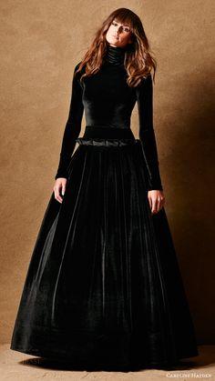 caroline hayden bridal 2017 long sleeves high neck ball gown wedding dress (ch007 black) mv