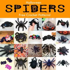 Free Crochet Patterns for Halloween Spiders! Crochet these awesome creepy crawlies for yourself or as a scary Halloween present for your friends!