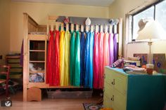 DIY Rainbow Bed Canopy for Bunk Beds