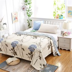 Summer/Autumn comforter cotton Quilted thin bedding duvet Retro Blue chrysanthemum printed keep warm Twin/Full/Queen/king size