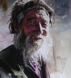 'Faces of Tibet' watercolour portrait by Liu Yungsheng Watercolor Portrait Painting, Portrait Art, Painting & Drawing, Watercolor Paintings, Watercolours, Art Aquarelle, Realistic Paintings, Animal Paintings, Figure Painting