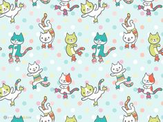 Happy Roller Skating Cats via katuno.com