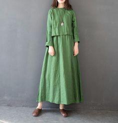Vintage Women Linen Loose Maxi Dresses For Spring FantasyLinen Baggy Dresses, Maxi Dresses, Casual Dresses, Abaya Fashion, Fashion Pants, Coats For Women, Clothes For Women, Maxi Styles, Chiffon Maxi Dress