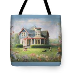 """Let springtime begin!  This new tote bag is on the website Fine Art America.  In three sizes!  """"Grandma's House"""" has peaceful colors and many reminders of spring.  """"Grandma's House"""" is a painting and print by Nancy Lee Moran. #tote #Americana #Victorian #PaintedLady #home #house #architecture #garden #birdhouse #springtime #Easter #children #girls #sisters #boy #cat #kittens #Labrador #dog #porch #JohnDeere #nancyleemoran #print"""
