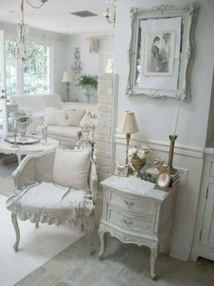 Creative And Inexpensive Useful Ideas: Shabby Chic Living Room Shelves shabby chic house office spaces.Shabby Chic Fabric Simple shabby chic curtains old doors. Shabby Chic Living Room, Shabby Chic Interiors, Shabby Chic Bedrooms, Shabby Chic Homes, Shabby Chic Furniture, Romantic Bedrooms, White Furniture, European Furniture, Victorian Furniture
