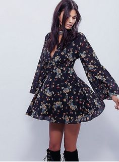 Love, love dark small print florals for fall. Free People 2015.