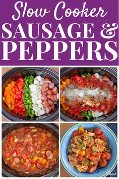 This Slow Cooker Turkey Sausage & Bell Peppers Recipe is an easy, healthy dinner with kielbasa and lots of bell peppers, onions, and tomatoes. Great for meal prep and busy weeknights! Slow Cooker Turkey, Best Slow Cooker, Slow Cooker Recipes, Crockpot Recipes, Healthy Comfort Food, Healthy Meal Prep, Healthy Dinner Recipes, Healthy Soups, Healthy Food