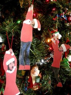 Fun ornaments! As another option to computer editing the red hats and sweaters, students could use red felt or craft foam, little white pompoms, or glitter to decorate themselves. The first day of school, I always take pictures of my students for the end of the year slide show, so this could be the second silly picture I take of them.