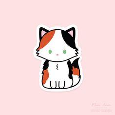 Fluffy Calico Cat Vinyl Sticker