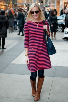 Striped Dresses, Leather Boots and a Giveaway! | Kelly in the City