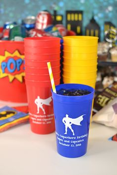 Setting these cups out at the drink table for birthday guests to take home as take-away souvenirs are a must-have party decoration idea.  Personalized plastic cups are dishwasher safe and reusable so they will last long after your birthday party is over. A favor that is guaranteed to get some oohs and ahhs from party guests.  The kid's superhero birthday theme shown is absolutely adorable. We can't get enough. To order, visit…