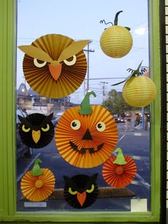 adorable paper pumpkins, owls! love