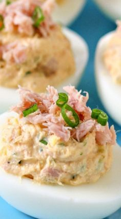 Deviled eggs are a perfect appetizer, snack or lunch option. These Tuna Deviled Eggs are zesty and creamy and have some crunchy texture from the celery and pickle. Canned Tuna Recipes, Egg Recipes, Fish Recipes, Seafood Recipes, Appetizer Recipes, Appetizers, Cooking Recipes, Healthy Recipes, Healthy Food