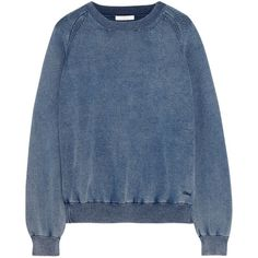Chloé Denim-effect cotton-blend jersey sweatshirt (€445) ❤ liked on Polyvore featuring tops, hoodies, sweatshirts, sweaters, jumpers, sweat tops, sweat shirts, embroidered sweatshirts, logo sweatshirts and blue top
