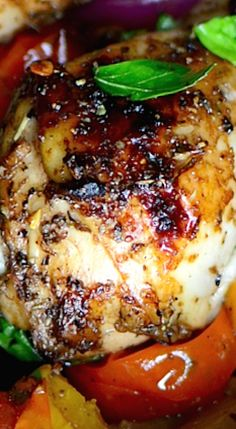 One Pan Balsamic Roasted Chicken and Vegetables.
