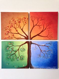 Four season tree canvas painting