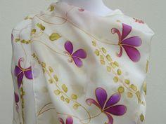 Fuchsia purple flowers silk scarf romantic elegant. HAND by Irisit