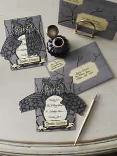 owl halloween party cards | How to Throw a Halloween Party Martha-style « CutRateCraftsBlog.com