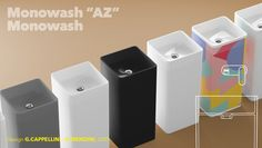 Monowash is a basin created from one ceramic block. The square shape of the basin with its rounded corners and the pedestal, slightly smaller at the base,. Basins, Container, Bathroom, Design, Bath Room, Full Bath, Bathrooms, Downstairs Bathroom, Bathing