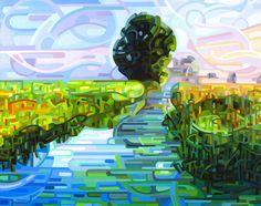 Flujo y reflujo Sol naciente no ha llegado a los pastos de humedales todavía; azules y verdes oscuros mantienen que cerca de sus secretos.  tamaño en pulgadas de la imagen: 11.5 x 15 en pulgadas el tamaño del papel: 13 x 19  tamaño en cm de la imagen: 29 x 38 papel tamaño en cm: 33 x 48.25  Giclee abrir print media reproducción de edición de una de mis pinturas abstractas originales del paisaje y flores.  He incluido algunas fotos de primer planos para mostrar el detalle y también una foto…