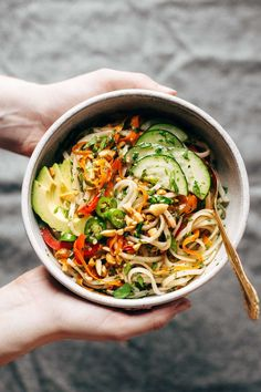 Spring Roll Bowls - basil, mint, rice noodles, fish sauce, brown sugar, lime juice, and whatever other protein and veggies you have on hand! Easy to make meatless!| http://pinchofyum.com