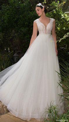 naama anat bridal 2017 cap sleeves split scoop wedding dress - Deer Pearl Flowers / http://www.deerpearlflowers.com/wedding-dress-inspiration/naama-anat-bridal-2017-cap-sleeves-split-scoop-wedding-dress/