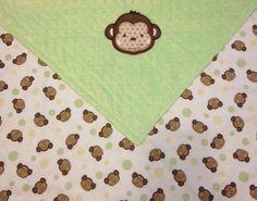 Monkey Applique Minky Baby Blanket-Light Green by SeasTheDaySewing