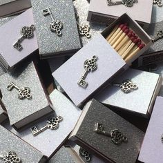 10 Skeleton Key Matchboxes  Wedding Favors  Party by ArtZodiac
