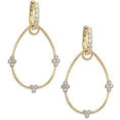 Jude Frances Provence Diamond & 18K Yellow Gold Pear Earring Charm... (£840) ❤ liked on Polyvore featuring jewelry, apparel & accessories, gold, gold charm jewelry, diamond jewelry, gold diamond jewelry, gold charms and diamond charms