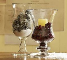 pine cones and candles centerpieces for christmas table decoration