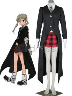 Soul Eater Maka Albarn Cosplay Costume, This great Maka Albarn costume is sure to be popular with all Soul Eater fans. The elegant jacket features two large silver buttons, wide white cuffs and long trench coat-inspired tails. Underneath the jacket, a crisp white shirt, yellow sweater vest and classy tie coordinate perfectly to bring Maka to life. The red micro-mini plaid skirt completes this ensemble, which is already a favorite among thdress.com's anime fan base.