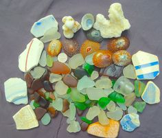 Beach Sea Glass Hawaii!  BIG PIECES! WRITING! POTTERY!! SHELLS,  Beach Glass 7/1 Opening bid just $24. Click the photo to bid and you're entered to win 300 FREE!