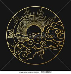 Sun and moon in the cloudy sky. Decorative graphic design element. Vector illustration in oriental style