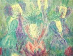 Keijujen tanssi -postikortti Pastellikuva: Sinikka Tompuri (Sara)