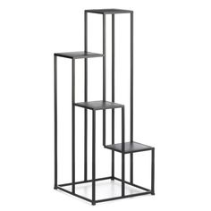 Mix modern and natural decor elements with this four-tier plant stand. The plant stand features a minimalist geometric design with four square platforms made from solid iron in a matte black finish. Metal Plant Stand, Modern Plant Stand, Plant Stands, Plant Shelves, Display Shelves, Colored Dining Chairs, Contemporary Planters, Decorated Flower Pots, Iron Plant