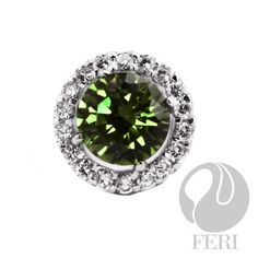 """925 fine sterling silver - micron natural rhodium plating - Set with AAA white cubic zirconia and green AAA cubic zirconia - Dimension: x on """"visit site"""" above to purchase Good Luck To You, Green Fashion, Sterling Silver Jewelry, Plating, Display, Gemstones, Pendant, Gallery, Bridal Collection"""